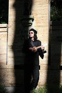 Petey in a Berlin Cemetery
